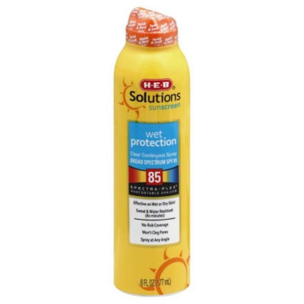 H-E-B Solutions Wet Protection Broad Spectrum Sunscreen Spray Spf 85