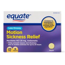 Equate Less-Drowsy Motion Sickness Relief Meclizine Tablets, 25 mg, 8 Ct