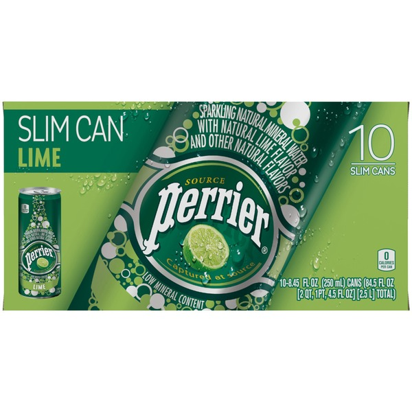 Perrier Sparkling Natural Mineral Water, Lime , Slim Cans