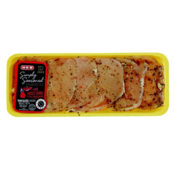 H-E-B Simply Seasoned Thin Sliced Uncle Chris' Seasoning Chicken Breast