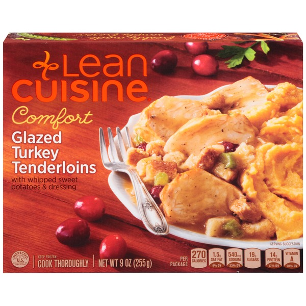 Lean Cuisine Comfort Glazed turkey tenderloins with whipped sweet potatoes & dressing Glazed Turkey Tenderloins