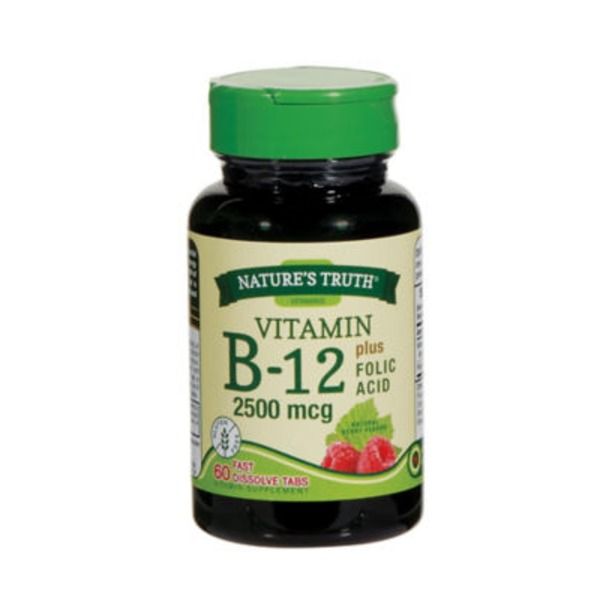 Nature's Truth Organic Vitamin B 12 2,500 Mcg Plus Folic Acid Fast Dissolve Tabs