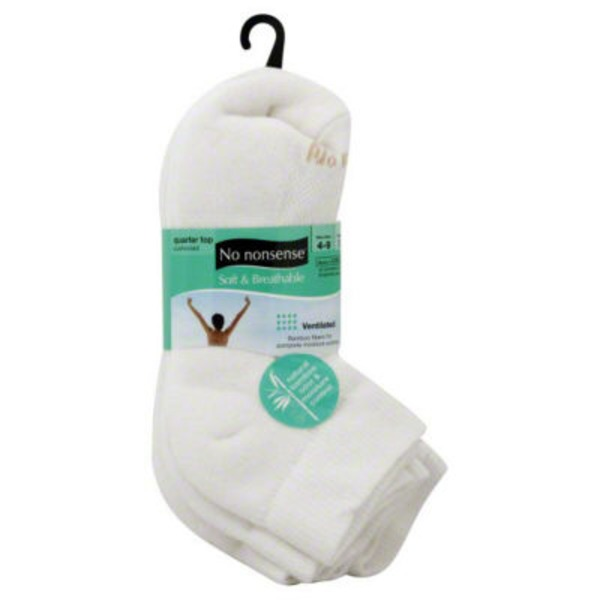 No Nonsense White No Nonsense Quarter Top Cushioned Socks
