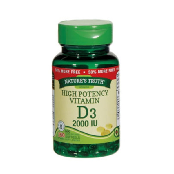Nature's Truth Organic High Potency Vitamin D3 Quick Release Softgels Herbal Supplement