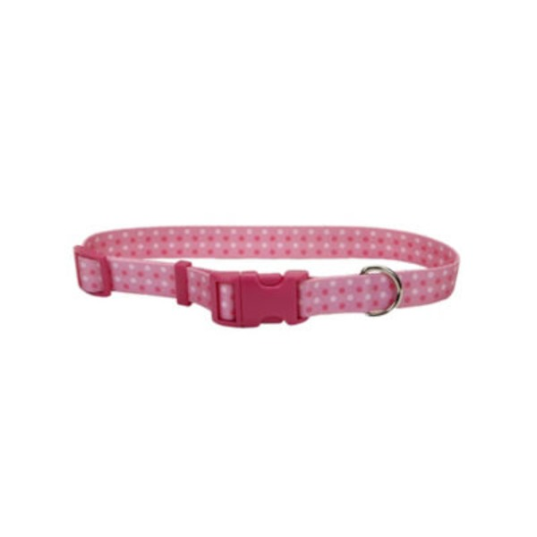Coastal Pet Pet Attire Styles 5/8 Inch Pink Polka Dot Adjustable Collar