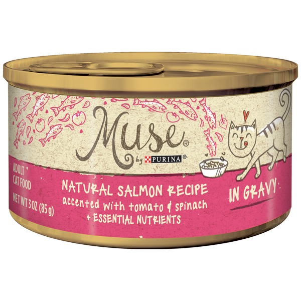 Muse Wet Natural Salmon Recipe Accented with Tomato & Spinach in Gravy Cat Food