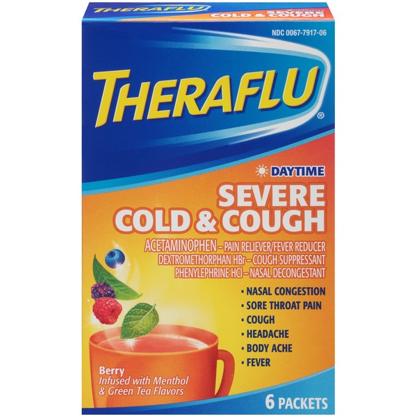 Theraflu Daytime Severe Cold & Cough Berry Powder Pain Reliever/Fever Reducer/Cough Supressant/Nasal Decongestant