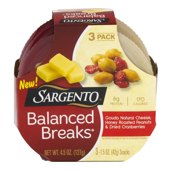 Sargento Balanced Breaks Gouda Cheese, Honey Roasted Peanuts, and Dried Cranberries - 3 PK