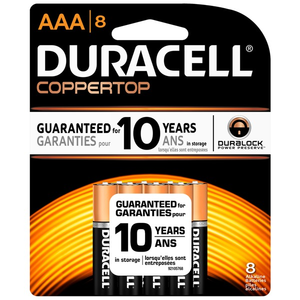Duracell Coppertop AAA Alkaline Batteries 10 count Primary Major Cells