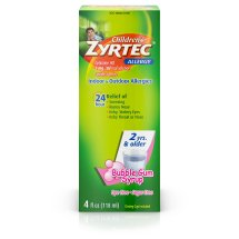 Children's Zyrtec 24 Hr Allergy Relief Syrup With Cetirizine, Dye-Free, Sugar-Free & Bubble Gum Flavored, 4 oz