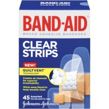 BAND-AID Brand Perfect Blend Clear Light Adhesive Bandages for Minor Cuts, Assorted Sizes, 45 Ct