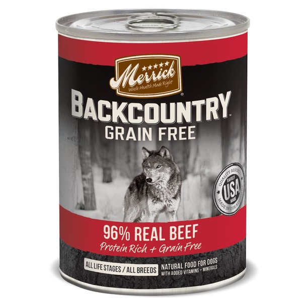 Merrick Backcountry Grain Free 96% Real Beef Canned Dog Food Case Of 12 12.7 Oz.