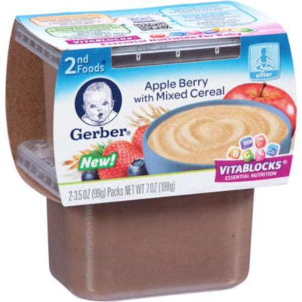 Gerber 2 Nd Foods Apple Berry with Mixed Cereal Purees-Fruit/Grain
