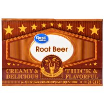 Great Value Root Beer, 12 Fl Oz, 24 Count