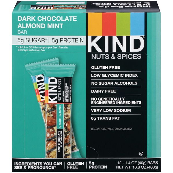 KIND Nuts & Spices/Dark Chocolate Almond Mint Nutrition Bar