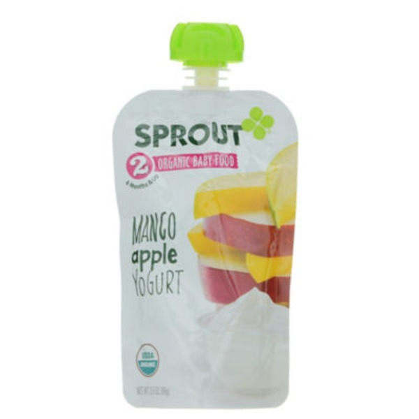 Sprouts Stage 2 Mango Apple Yogurt Pouch Baby Food
