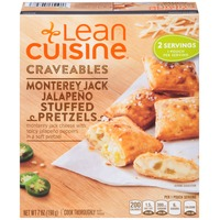 Lean Cuisine Craveables Monterey Jack cheese with spicy jalapeno peppers in a soft pretzel Monterey Jack Jalapeno Stuffed Pretzels