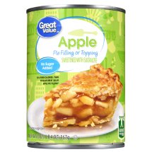 Great Value Pie Filling or Topping, No Sugar Added, Apple, 20 oz