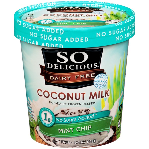 So Delicious Dairy Free Coconutmilk No Sugar Added Mint Chip Frozen Dessert