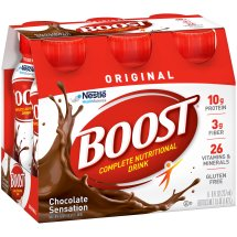 BOOST ORIGINAL Complete Nutritional Drink, Chocolate Sensation, 8 fl oz Bottle, 6 Pack