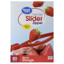 Great Value Slider Zipper Food Storage Bags, Quart, Mega Pack, 80 Count
