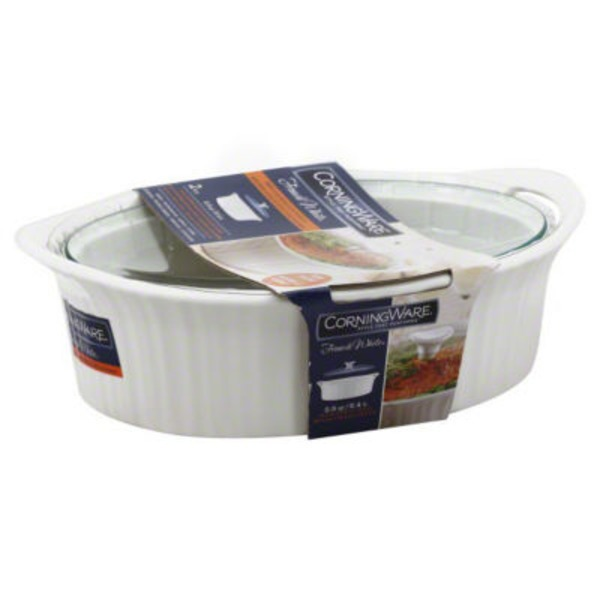 Corningware Entree Baker, Oval, with Glass Cover, French White, 2.5 qt