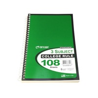 Top Flight 3 Subject College Ruled 108 Sheets Notebook