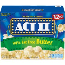 ACT II 94% Fat Free Butter Microwave Popcorn, Classic Bag, 12 Ct
