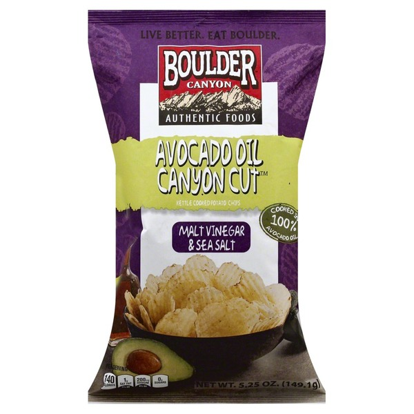Boulder Canyon Avocado Oil Canyon Cut Kettle Cooked Potato Chips Malt Vinegar & Sea Salt
