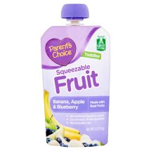 Parent's Choice Baby Food, Stage 4, Banana Apple & Blueberry, 3.5oz Pouch
