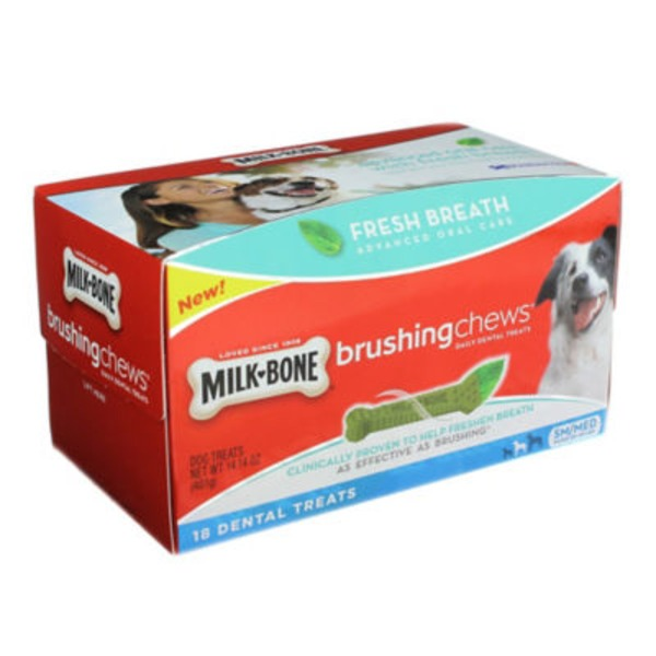 Milk-Bone Brushing Chews Daily Dental Treats Fresh Breath - 18 CT