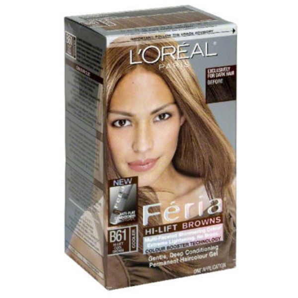 Feria Multi-Faceted Shimmering Colour B61 Hi-Lift Cool Brown Hair Color