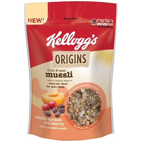Kellogg's Fruit & Seed Muesli Raisin Apricot Cranberry With Pumpkin Seeds Cereal