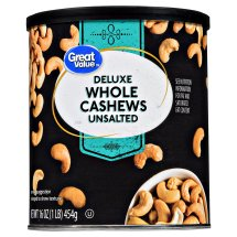 Great Value Deluxe Whole Unsalted Cashews, 16 Oz