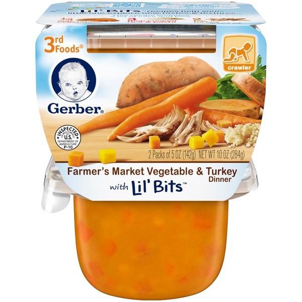 Gerber 3 Rd Foods Farmer's Market Vegetable & Turkey Dinner with Lil' Bits Purees Dinner