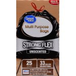 Great Value Strong Flex Multi-Purpose Drawstring Trash Bags, Unscented, 33 Gallon, 25 Count