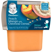 Gerber® 2nd Foods® Peach Mango with Oatmeal Cereal Baby Food, 4 oz, 2 count