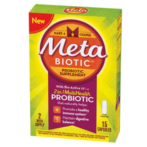 Meta Biotic Biotic MetaBiotic Probiotic Supplement with Bio-Active 12, 15 Count Probiotics Supplement