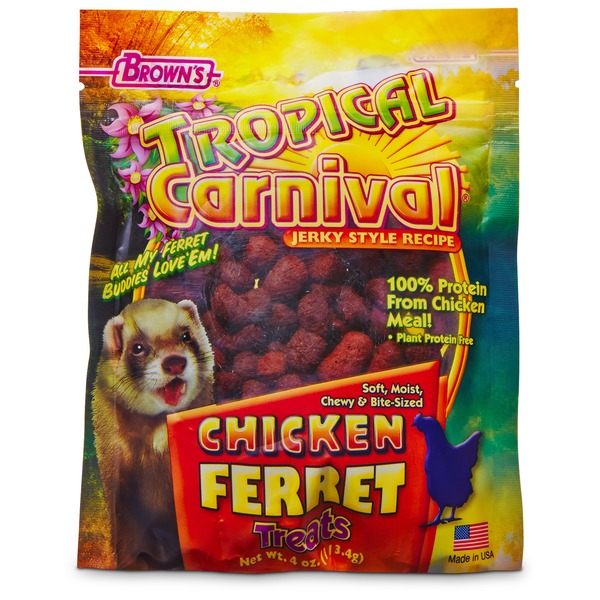 Brown's Tropical Carnival Jerky Chicken Ferret Treats 4 Oz.