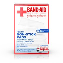 BAND-AID® Brand Adhesive Bandages, Medium Non-Stick Pads for Minor Cuts, 10 2-inch x 3-inch Pads
