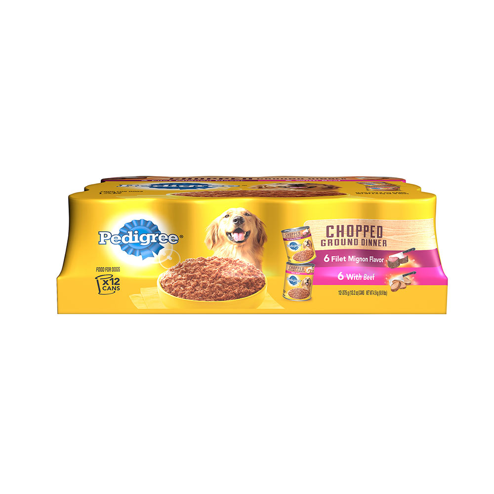 Pedigree Chopped Ground Dinner Multipack Filet Mignon & Beef Dog Food 13.2 oz/12 count