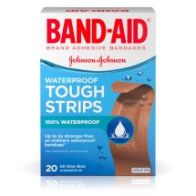 BAND-AID® Brand TOUGH-STRIPS® Waterproof Adhesive Bandages, Durable Protection for Minor Cuts and Scrapes, 20 Count