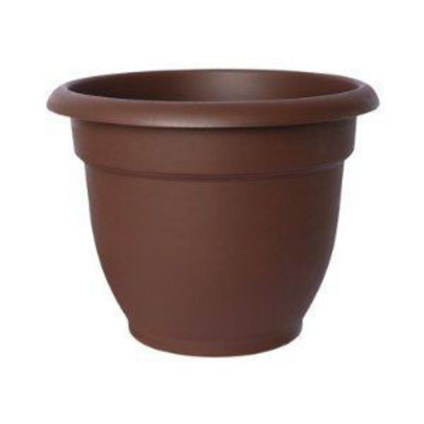 Fiskars Ariana Plastic Planter With Self Watering Grid Dark Chocolate Color