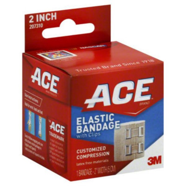 Ace Cider Company Elastic Bandage, with Clips, 2 Inch