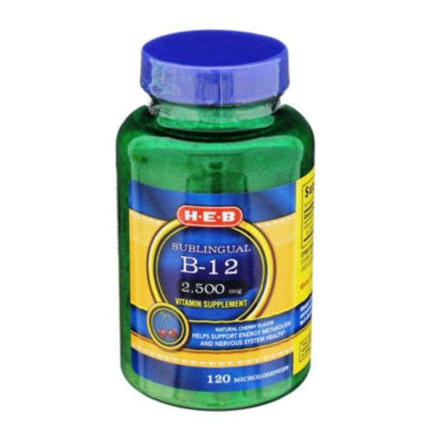 H-E-B Sublingual B 12 2500 Mcg Vitamin Supplement Microlozenges