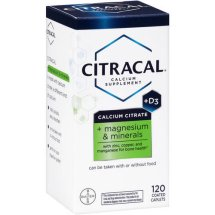 Bayer Citracal Calcium Citrate + D3 + Magnesium & Minerals Coated Caplets, 120 Ct
