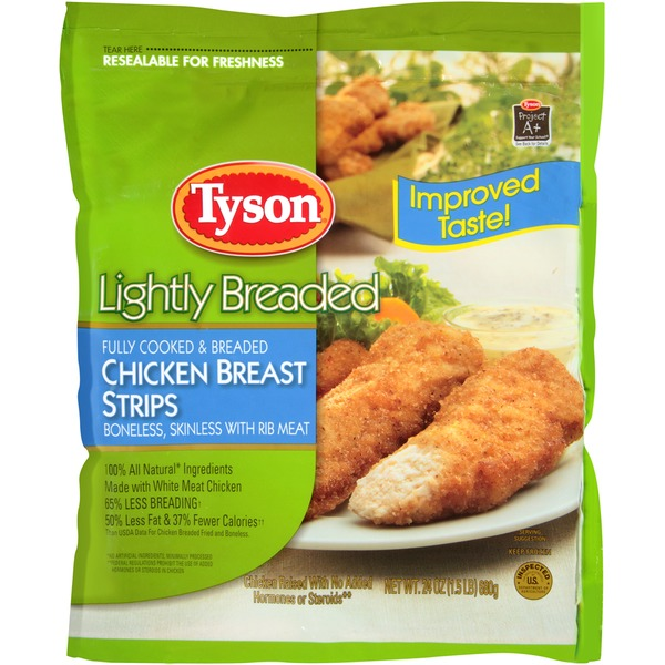 Tyson   Frozen Breaded Lightly Breaded Chicken Breast Strips