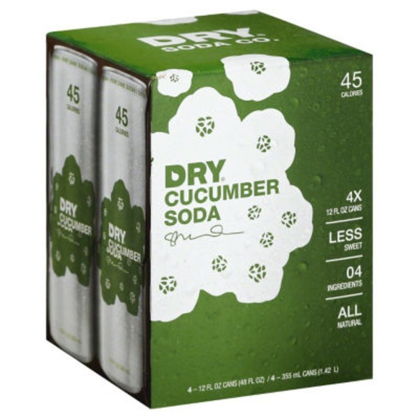 Dry Cucumber Soda, Can, Box