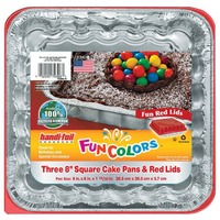 Handi-Foil Fun Colors Square Cake Pans With Red Lids