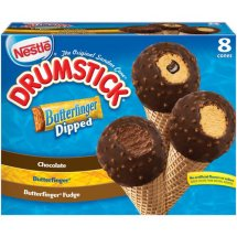 Nestle Drumstick Butterfinger Dipped Ice Cream Cones Variety Pack, 8 ct, 36.8 fl oz